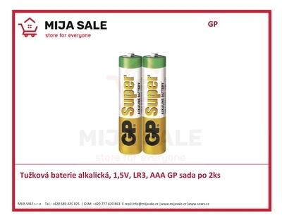 Tužková baterie alkalická, 1,5V, LR3, AAA GP sada po 2ks