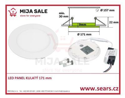 LN12 LED DENNÍ panel 12W kulatý 171mm - LED panel 12W do podhledu, 230V - 1