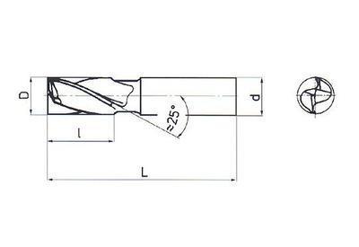 Fréza pro drážky per, krátká, dvouzubá, nesouměrná DIN 327 5x8 HSS Co8 - 3