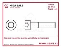 DIN 912 8.8 M 5x 25 - Šroub s válcovou hlavou a vnitřním šestihranem zinek bílý
